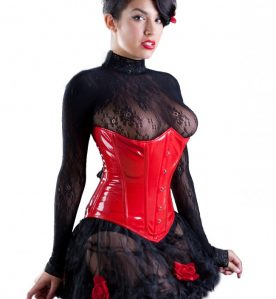 PVC Underbust Corset in Red