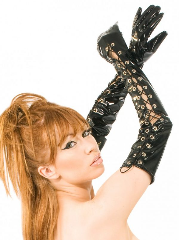 Laced Front Long PVC Gloves