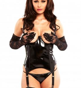 PVC Striptease Basque in Black