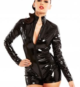 PVC Pleasure Playsuit in Black