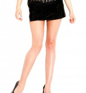 PVC Belted Hipster Skirt