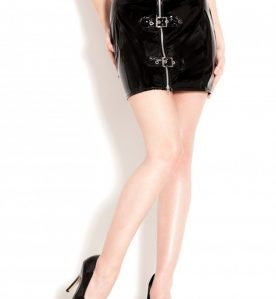 PVC Saucy Buckle Mini Skirt