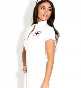 PVC Sexy Nurse Dress in White