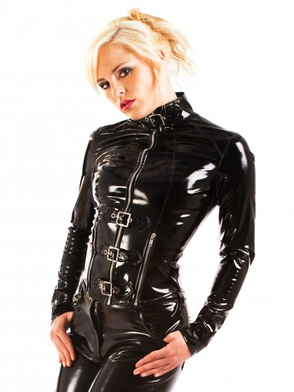 PVC Buckle Front Punk Jacket
