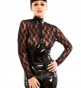 PVC & Lace Martini Top in Black