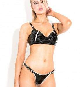Buckled PVC G-String in Black & Silver - One Size