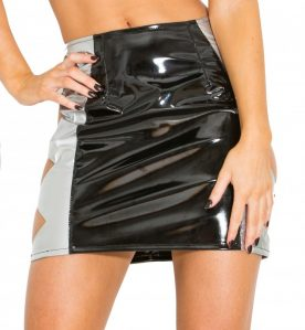 Sexy, Jagged Black and Silver PVC Skirt