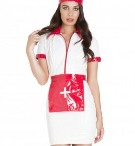 Indecent Orderly PVC Nurse Dress with Apron and Cap