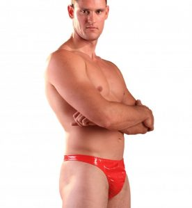 PVC Male Thong Red