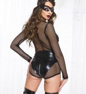 Wetlook Fishnet V-Shape Teddy