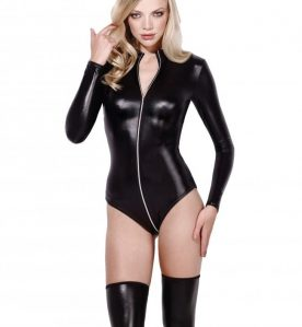 Felicity Wetlook Bodysuit in Black