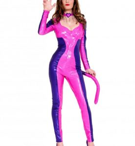 Vibrant Long Sleeve Wetlook Catsuit
