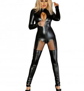Powerwetlook Catsuit with Tulle Inserts