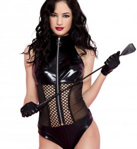 Wetlook Body with Mesh and Fishnet Panels