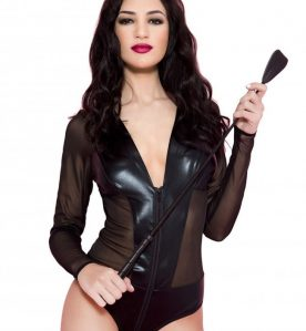 Wetlook and Mesh Long-Sleeved Body