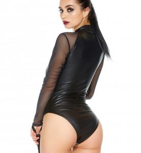 Zip Front Wetlook Body with Mesh Sleeves
