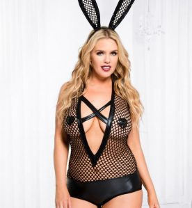 Criss-Cross V-Shape Panel Fishnet and Wetlook Teddy